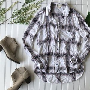 Anthropologie cloth & stone plaid white pink top